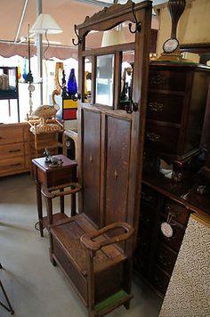 Antique Victorian Hall Tree Original Mirror Umbrella Stand Coat Rack 1890s Ships   eBay