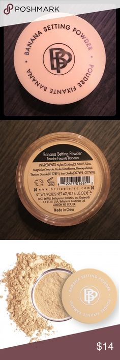 Bellápierre Banana Setting Powder Bellápierre Banana Setting Powder 4 grams (full size)   •Color correcting setting powder. Contradicts redness and discoloration. •Use for setting under eye makeup, spot correcting, or even used as base eyeshadow. Bellápierre Makeup Face Powder
