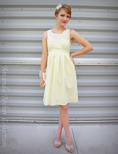 Yellow wedding  dress  made to order in cotton with pockets  by AmandaArcher, $200.00