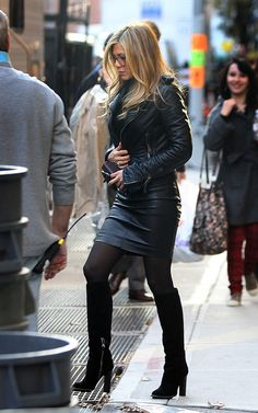 """Jennifer Aniston in leather jacket, tight leather skirt and leather boots in """"Wanderlust"""" in New York City, 18 Nov 2010"""
