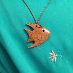 Hardwood Apricot Tree Handmade Pendant Fish - wood pendant, natural jewelry…