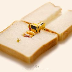 Tatsuya Tanaka is a Japan-based photographer and art director who has created a creative and fun miniature diorama like the ones below every day for the past 5 years. He uses food, everyday items, and miniature figuines to create these hilarous scenes which he then publishes in his Miniature Calendar.