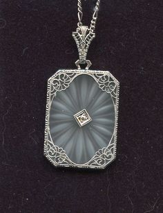 VINTAGE ART DECO 14KT WHITE GOLD DIAMOND FILIGREE CAMPHOR GLASS PENDANT NECKLACE in Jewelry & Watches, Vintage & Antique Jewelry, Fine   eBay. 400