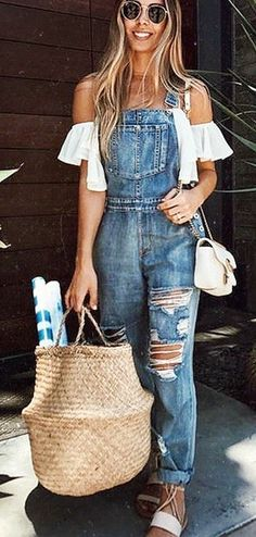 summer outfits White Off The Shoulder Top + Ripped Denim Overall