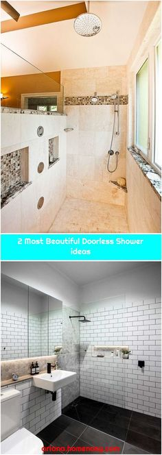 2 Most Beautiful Doorless Shower ideas - Modern Master Bath Layout, Small Bathroom Layout, Small Bathroom With Shower, Bathroom Stand, Bathroom Bath, Showers Without Doors, Gray Shower Tile, Small Bathtub, Shower Remodel
