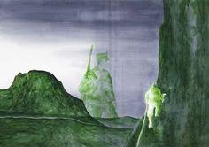 Pierluigi Pusole, Scalatore + uomo molto grande, 2011, Acrylic and watercolour on paper, 70 x 100 cm