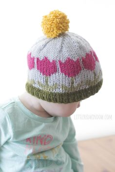Fair Isle Spring Tulip Hat KNITTING PATTERN  от LittleRedWindow