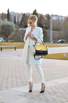 women fashion clothing style outfit white coat pants black heels handbag sunglasses autumn bracelet