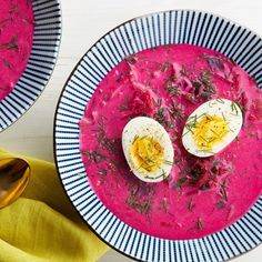 Chilled Beet Soup With Buttermilk, Cucumbers, and Dill (Chlodnik).  (Decrease water in recipe)