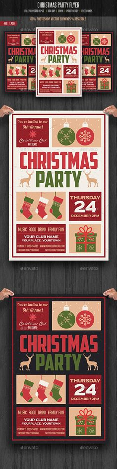 Christmas Party Flyer — Photoshop PSD #christmas template #invitation card •…