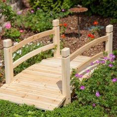 Wooden Garden Bridge Outdoor Decorative Landscape 4 Foot Wood Creek Pond Walkway #WoodenGardenBridge