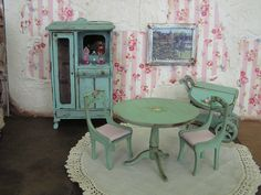 Handpainted miniature furniture by Janet Peters