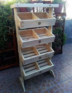 If you are a fruit or vegetable store owner and desires to increase your sale then craft this wood pallets fruit rack plan for attracting your customers toward it with it's stunning look and amazing design. We have designed for layers of drawers in it to provide you maximum storage space for your fresh fruits and vegetables.