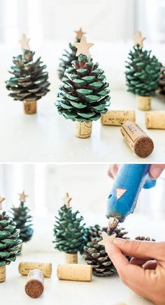 Spread some holiday cheer and decorate your home with these DIY Pinecone Christm., Frisuren,, Spread some holiday cheer and decorate your home with these DIY Pinecone Christmas Trees. Create your own mini pinecone trees with spray paint and win. Christmas Holidays, Christmas Ornaments, Diy Ornaments, Pinecone Christmas Crafts, Christmas Carol, Christmas Tree Pinecones, Pine Cone Christmas Decorations, Christmas 2019, Christmas Crafts With Kids