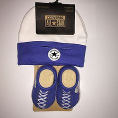 BABY BOYS 0 - 6  MONTHS CONVERSE BOOTIE SOCKS BEANIE HAT GIFT SET NWT