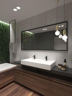 MODRZEWIOWE WZGÓRZE. BANINO   Raca Architekci Bathroom Lighting, Sweet Home, Mirror, Furniture, Home Decor, Room Inspiration, Houses, Atelier, Bath