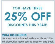 AsukaBook January 2014 News & Events Don't forget you have 3 - 25% off discounts to use per year.