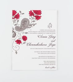 Wedding Invitation East Meets West India Wedding Collection