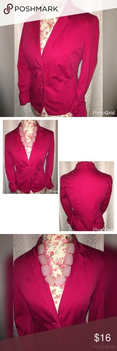 """NWOT EXPRESS RASPBERRY STRETCH BLAZER SZ 10 💖💖💖 THIS BEAUTIFUL BLAZER IS MADE BY 💖EXPRESS AND IS A STRETCH FABRIC💖 AND HAS RUCHED SLEEVES💖IT IS A SIZE 10 AND IS IN EXCELLENT CONDITION 💖IT KS 19"""" ACROSS THE CHEST AND 22"""" FROM THE SHOULDERS 💖2 FAUX POCKETS IN THE FRONT 💖 2 BUTTONS TO CLOSE💖THE SHELL IS 99% COTTON AND 1% SPANDEX AND BODY LINING IS 95% POLYESTER AND 5% SPANDEX💖💖💖 Express Jackets & Coats Blazers"""