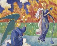 Annunciation, 1890 by Emile Bernard. Synthetism. religious painting