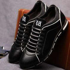 Men casual shoes fashion 2018 male leather shoes Big size lace-up solid Spring/Autumn shoes men sneakers rubber Casual Leather Shoes, Leather Sneakers, Casual Shoes, Men Casual, Men Sneakers, Shoes Men, Mens Fashion Shoes, Sneakers Fashion, Superstars Shoes
