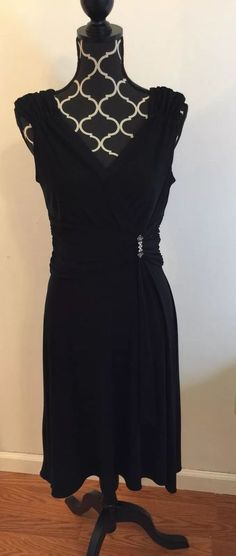 Dress Barn Collection Size 12 Black Jersey Knit Ruched Cocktail Dress w/pin…