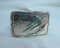 Navajo Tommy Singer Chip Inlay Sterling Silver Belt Buckle by newoldjewels on Etsy
