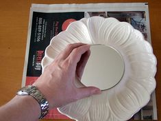 Another great idea for Old Dishes.  DIY - Mirror