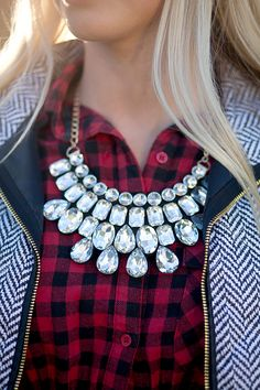 Sophia Kaye - Women's Clothing Boutique- Make a statement with this gorgeous gem bib necklace! Perfect with this season's plaids, flannels, and vests! Comes with matching earrings. Features gold chain and lobster clasp.