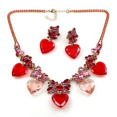 Wonderful Seven Hearts set designed from rhinestone hearts in red and pink. $59.90