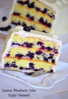 Lemon Blueberry Cake Blueberry Cake, Vanilla Cake, Deserts, Lemon, Sweets, Cooking, Food, Kitchen, Blueberry Grunt