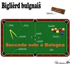 Billiards in Bolognese dialect.   www.succedesoloabologna.it