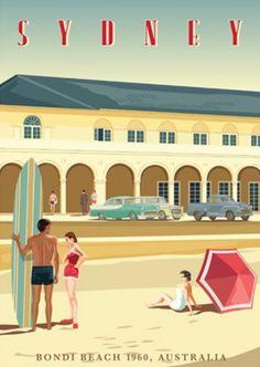 Sydney, Bondi Bathers Pavilion, 1960 by contourcreative Poster Retro, Art Vintage, Vintage Travel Posters, Australian Vintage, Australian Beach, Retro Illustration, Illustrations, Posters Australia, Australia Pics