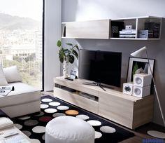 DUO 61: ¡Pequeño gran salón! con un módulo tv y una estantería, hemos creado tu rincón perfecto