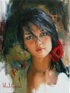 garmash paintings | Portrait Spanish Woman - M I Garmash