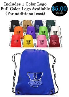 Custom Drawstring Backpack with Personalization or Logo