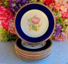 11 Vintage Crown Ducal Dinner Plates Hand Painted Artist Signed ~ Cobalt ~ Gold #CrownDucal