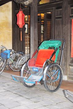 """""""Tuk-Tuk"""" One person can ride cheaply in Hoi An, Vietnam by taking one of these.  (photo by Peggy Mooney Oct. 2010)"""