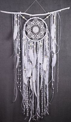 White Dreamcatcher Boho Dream Catcher Large white crochet dreamcatcher gift wedding ceremony photo backdrop Dreamcatcher Bohemian handmade This amulet like Dreamcatcher - is not just a decoration of the interior. It is a powerful amulet, which is endowed