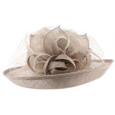 Chapeau Mariage sisal Gris Luce #chapeaumariage #mariage #mode #fashion sur votre boutique Mariage Hatshowroom.com