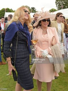 2015.06.14 Jerry Hall, Dame Joan attends the Cartier Queen´s Cup Final at Guards Polo Club in Egham.