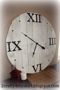 2 Crafty 4 My Skirt: How To Make A Pallet Clock... outline and fill in the roman numerals with glue for pop up effect?