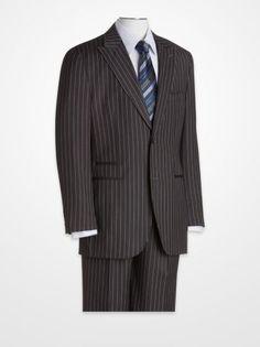 Men's Suits - Steve Harvey Charcoal Pinstripe Suit - K Fashion Superstore Big Man Suits, Men's Suits, Black Leather Dresses, Black Dress Shoes, Steve Harvey Suits, Look Good Feel Good, Pinstripe Suit, Men's Wardrobe, Well Dressed Men