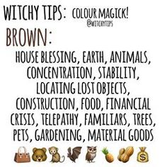 🐿 BROWN 🐿 Use colour magick to help you pick candle colours, altar decor, clothing choices and more for spells and rituals to give it an… Wicca Witchcraft, Magick, Witchcraft For Beginners, House Blessing, Wiccan Crafts, Eclectic Witch, Herbal Magic, Baby Witch, Altar Decorations