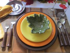 Fall Fiesta® Tablescape for One Sunflower Tangerine and Chocolate Fiesta® Dinnerware make & Fall Fiesta® Tablescape for One: Sunflower Tangerine and Chocolate ...