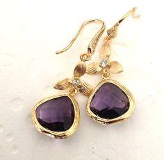 Dangle Earrings Amethyst drop Wedding Jewelry Chandelier earrings, Fall Fashion, Prom earrings Bridesmaids gifts