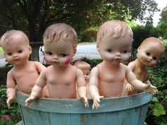 vintage dolls. Are the taking a bath or do we need to find them some sweet clothes?