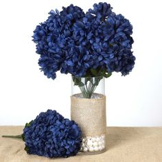 BalsaCircle 56 Large Chrysanthemum Mums Balls Silk Wedding Flowers - 4 bushes - Navy Blue *** Learn more by visiting the image link. (This is an affiliate link and I receive a commission for the sales) Blue Wedding Decorations, Stage Decorations, Wedding Colors, Wedding Ideas, Rodeo Decorations, Wedding Table, Wedding Backdrops, Diy Wedding, Wedding Planning