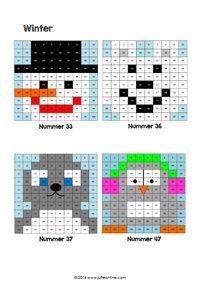 Honderdtabellen in winterthema Xmas Cross Stitch, Cross Stitch Patterns, Pixel 1, Safety Pin Crafts, 100 Chart, Perler Bead Templates, Christmas Math, Coding For Kids, Winter Project