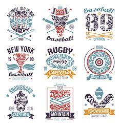 Baseball rugby snowboard skateboard sport emblems vector logos by Neuevector on VectorStock®